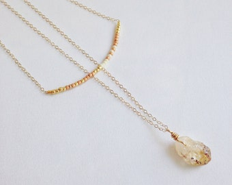 Double layer necklace, raw gemstone necklace, thin beaded necklace, extra thin chain, delicate citrine necklace, tiny beads, peach and white