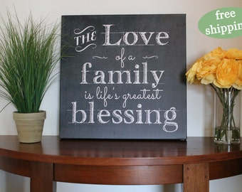 the love of a family is life's greatest blessing, canvas, family, marriage, gift, farmhouse decor, chalkboard inspired, 12x12, 16x16, 20x20