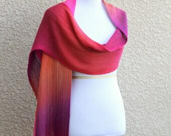 Ombre scarf, bridesmaids stole, woven wrap, bridesmaids shawl in neon pink fuchsia orange purple with fringe
