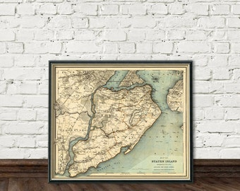 Staten Island map - Old map of Staten Island - Fine reproduction