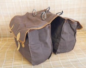 Vintage Large Size Brown Canvas Two Compartments Saddle Bag Bicycle Bag Pouch