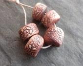 Batik- handmade floral rustic ceramic beads 1622