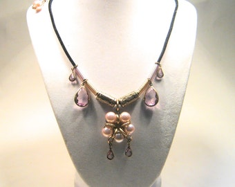 Pink Pearl and Crystal Pendant Necklace