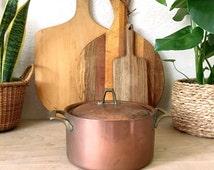 Mid Century Rustic Paul Revere Copper Pot with Lid - 3 Quarts Revereware