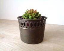 Rustic Brass Flower Pot with Lace Cutout Design - Small Vintage Flower Garden Planter Pot Vase