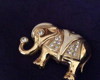 Elephant Rhinestone Pendant/Brooch Vintage Kenneth J Lane Gold Tone