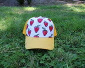 Strawberry Trucker Hat - Hand Drawn Pattern