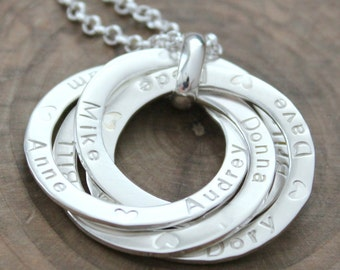 Personalized Family Necklace, Custom Ring Necklace, Intertwined Rings, Sterling Silver Family Necklace, 2,3,4 Rings - Bianca Necklace
