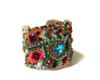 Stunning and Vibrant Colors Friendship Cuff made form Vintage and new Rhinesons Swarovski Crystals