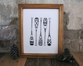 Canoe Paddles Print - Linocut Wall Art Outdoors Nature