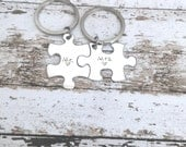 Fiance gift Mr Mrs Keychains, Puzzle Piece Keychain Set, couples keyhcains, Bride Groom Gift, Stamped Keychains, just engaged, Just Married