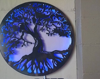 """LED lit up tree of life metal sign. 23.5"""" round"""