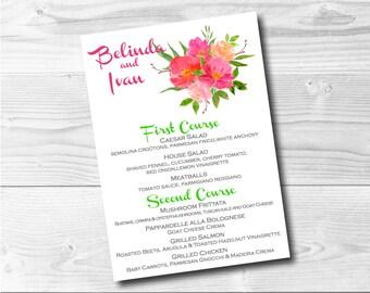 Wedding Menu Custom Bouquet Digital File Party Menus Pink Flowers