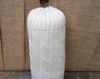Sweater Gourd with Real Stick Stem - Eco-friendly White Pumpkin Gourd Fall Decoration