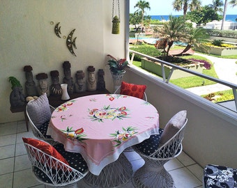 Vintage 40s 50s Tablecloth Pink Tropical Bird of Paradise Hawaiian Polynesian Print 1940s 1950 Kitchen Dining Room Trailer Camping Glamping