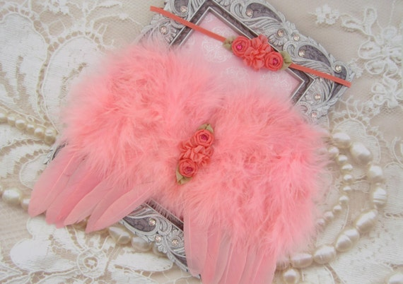 Coral Feather Angel Wings AND/OR Matching Satin Flower Headband, infant, newborn photos, angel baby, salmon feathers, by Lil Miss Sweet Pea