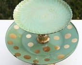 Custom Order 16 inch Cake Stand Mint Green & Gold Platter Made To Order