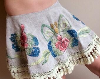 Upcycled Embroidered Boho Fringe Tassel Mini Skirt