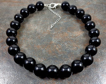 Big Black Gumball Chunky Necklace, Statement Necklace, Round Bead Necklace, Chunky Strand Necklace, Big Bead Necklace, Round Beads, Black