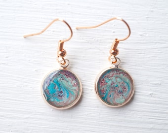 Rose Gold Swirl Resin Earrings