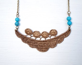 Brown Lace and Turquoise Beaded Statement Necklace