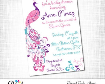 peacock baby shower invitation printable peacock theme baby shower digital file