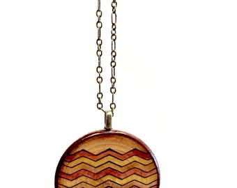 Chevron Wood Pendant Necklace // Antique Brass Chain // Long Rustic Style // Gift for Her