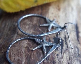 Large textured fine Silver teardrop earrings with Sterling Silver Sea stars - Starfish earrings