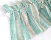 "AQUA Valance Curtain Blue Green and Tan Cream Stripes 43"" Kitchen Curtain Kitchen Valance Curtains Kitchen Window Valance and Cream Valances"