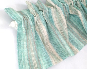 "AQUA Valance Curtain Blue Green and Tan Cream Stripes 43"" Kitchen Curtain Kitchen Valance Curtains Kitchen Window Valance and Cream Valances"