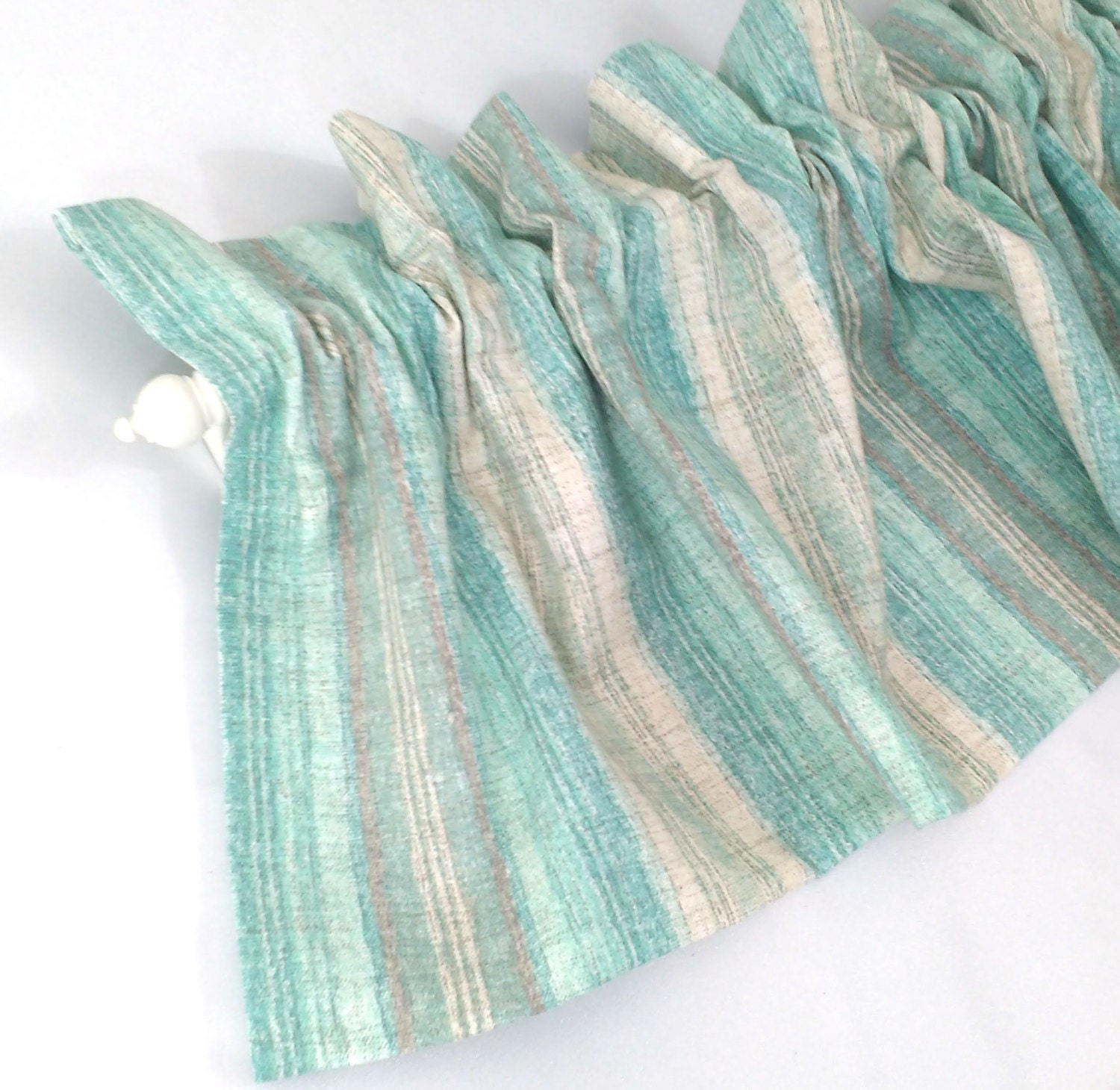 Blue Green Kitchen Curtains: AQUA Valance Curtain Blue Green And Tan Cream Stripes 43