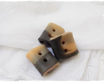 Charcoal Toggle Buttons, Small Square Buttons, Handmade Buttons, Rectangular Buttons, Beige Folded Buttons, Artistic Buttons, Small Buttons