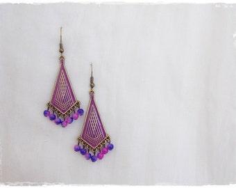 Geometric Dangle Earrings, Gypsy Purple Earrings, Brass Arrow Earrings, Tribal Chandelier Earrings, Boho Ethnic Earrings, Dangling Earrings