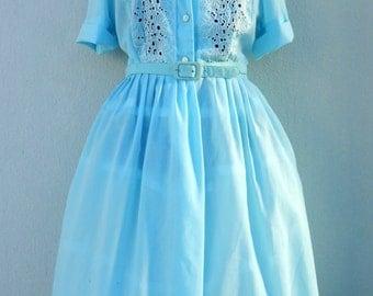 SALE was 65euro- Vintage 50s Dress - Sky Blue Embroidered Cutwork Full Skirt Shirtwaist 1950s Day Dress