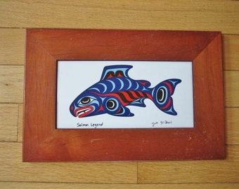 Tribal Art Northwestern Ceramic Tile Salmon Legend By Joe Wilson Salish Nation
