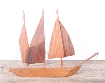 Vintage Handmade Boat / Wooden Boat / Teak Sail Boat / Boating Gifts / Beach Decor / Ocean Decoration / Sailing Gifts / Sailing Decor