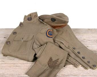 Antique WWI Army Uniform / wwI Jacket US Army Tunic Hat WWI Uniform / Antique Military Coat / Vintage Uniform / Sergeant German /Unique Gift