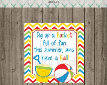 End of School Bucket Tags - Pool Party Birthday Party Favor Tags - Swim Party Birthday Party Favor Tags -  Digital Image