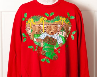 Vintage 80s 90s Christmas Sweatshirt - stockings bears - NUT CRACKER - 1X