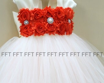 Burnt Orange and Ivory (or white) Flower Girl Dress With Cap Sleeves