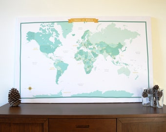 World Map Fabric with Country Names - Teal/Mint - modern design print - 1 yard