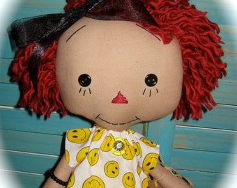 Raggedy Annie Ann Doll in Happy FACE Dress OOAK Handmade