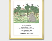 """Boy Nursery Decor w/Mat, Babar the Elephant (Mother and Son Art, Poem Print, Gift for New Mom) Matted Babar Print """"She Loves Him Very Much"""""""