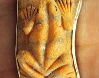 Carved Orange Coral Frog Sterling Silver Ring. Adjustable