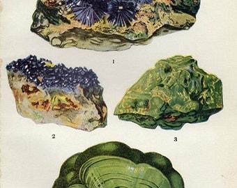 Vintage 1911 Minerals Print Antique Gems Precious Stones print gemstones print, bookplate art print, minerals wall print wall art