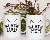Cat Coffee Mug, Mom and Dad mugs, Pet Parents, Pet owner gift, Gift set, Funny Christmas Gifts, his and hers, couple gifts, pet anniversary