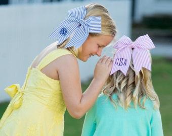 Large Monogrammed SeerSucker Hairbows -Navy or Pink - Preppy Hairbow - Tailgate - Team Colors Hairbows