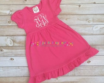 Monogrammed puff sleeved pink dress