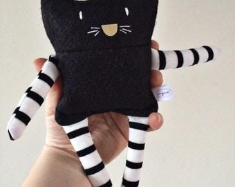Black Cat Plushie / Scented Rice-Filled Cat Plush /Felt SmallToy