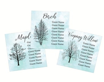 Winter Tree Silhouette Seating Assignment Charts, Cards, Wedding Guest Table Seating Chart, Seating Card, Guest Table Assignment W110